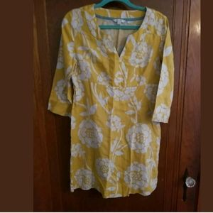 Boden Yellow Linen Dress With Ivory Flowers 8R